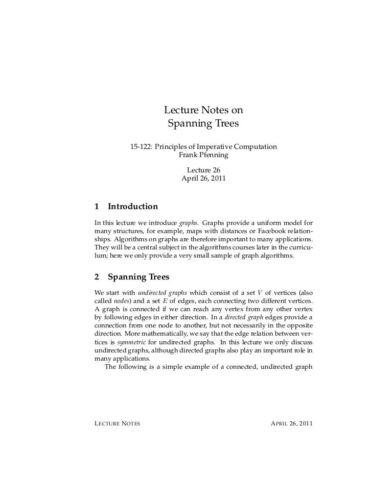 Lecture Notes on                         Spanning Trees            15-122: Principles of Imperative Computation           ...
