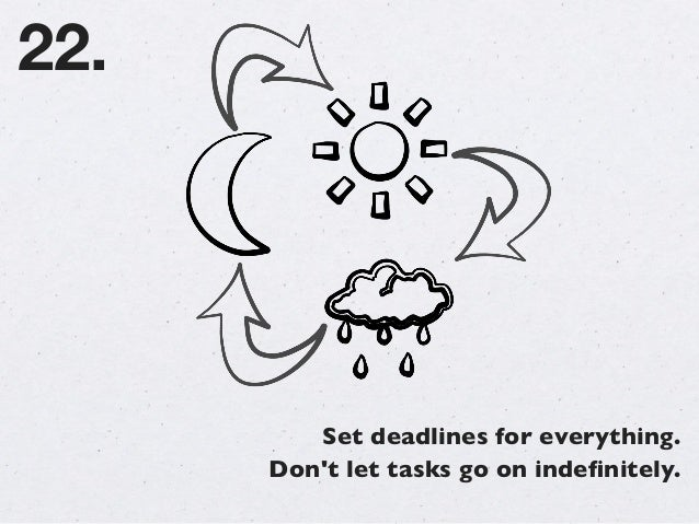 Set deadlines for everything. Don't