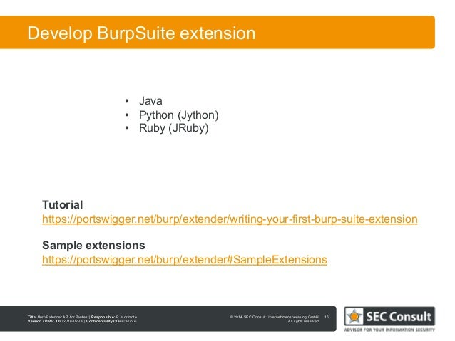 Burp Extender API for Penetration Testing