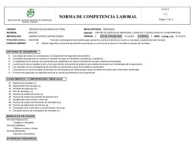 DIRECCION DEL SISTEMA NACIONAL DE FORMACION  PARA EL TRABAJO  NORMA DE COMPETENCIA LABORAL  VERSION AVALADA MESA SECTORIAL...