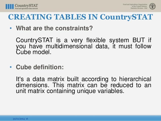 • What are the constraints? CountrySTAT is a very flexible system BUT if you have multidimensional data, it must follow Cu...