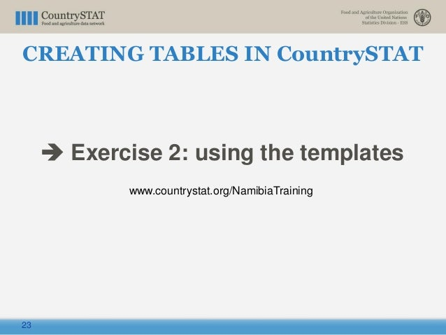 23  Exercise 2: using the templates www.countrystat.org/NamibiaTraining CREATING TABLES IN CountrySTAT