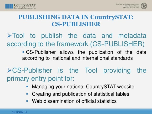Tool to publish the data and metadata according to the framework (CS-PUBLISHER)  CS-Publisher allows the publication of ...