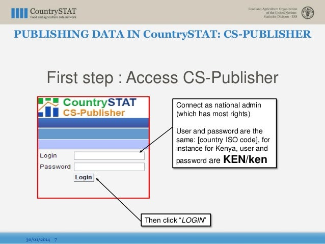 First step : Access CS-Publisher 30/01/2014 7 Connect as national admin (which has most rights) User and password are the ...