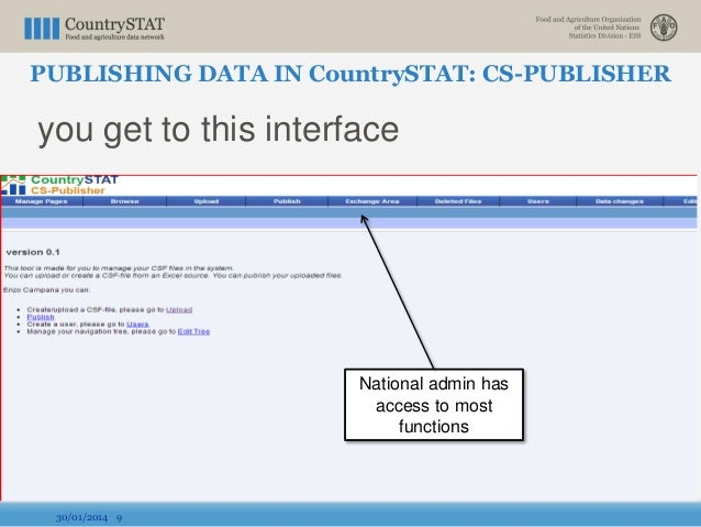 you get to this interface 30/01/2014 9 National admin has access to most functions PUBLISHING DATA IN CountrySTAT: CS-PUBL...
