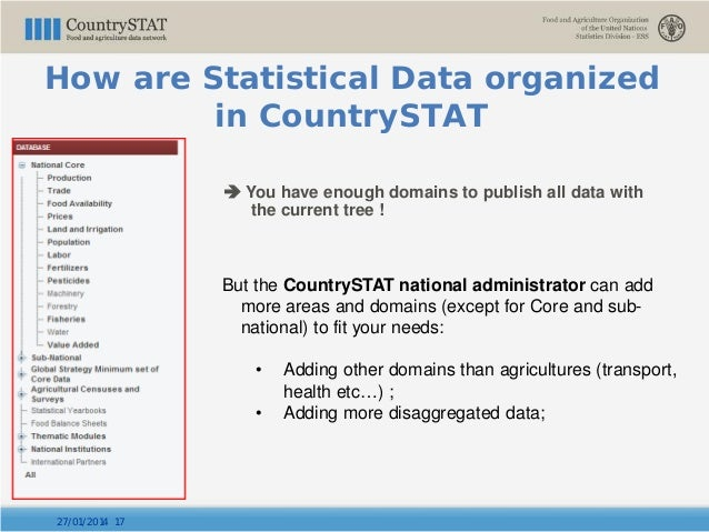  You have enough domains to publish all data with the current tree ! 27/01/2014 17 But the CountrySTAT national administr...