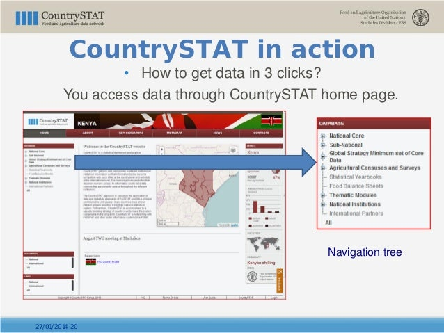 • How to get data in 3 clicks? You access data through CountrySTAT home page. Navigation tree 27/01/2014 20 CountrySTAT in...