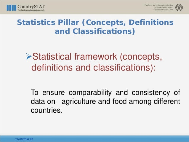 Statistical framework (concepts, definitions and classifications): To ensure comparability and consistency of data on agr...