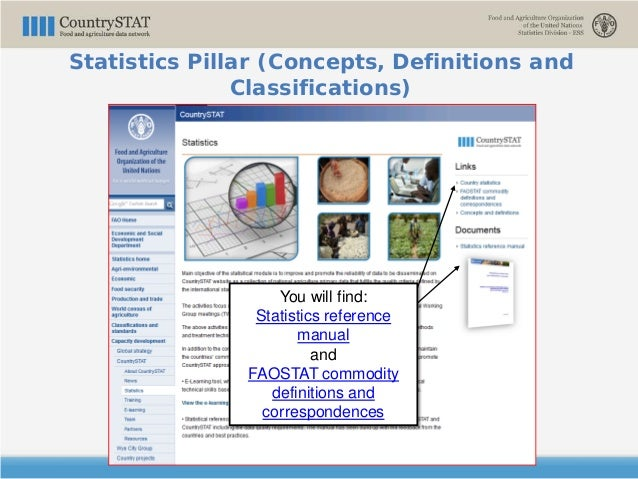 You will find: Statistics reference manual and FAOSTAT commodity definitions and correspondences Statistics Pillar (Concep...