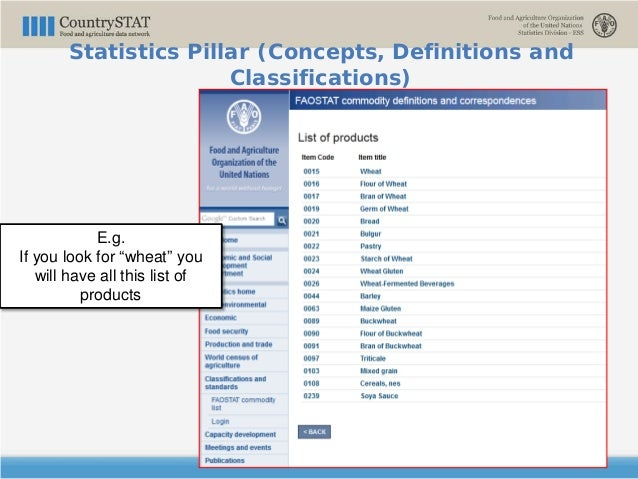 """E.g. If you look for """"wheat"""" you will have all this list of products Statistics Pillar (Concepts, Definitions and Classifi..."""