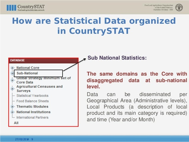 Sub National Statistics: The same domains as the Core with disaggregated data at sub-national level. Data can be dissemina...