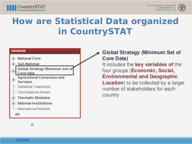 27/01/2014 10 Global Strategy (Minimum Set of Core Data) It includes the key variables of the four groups (Economic, Socia...