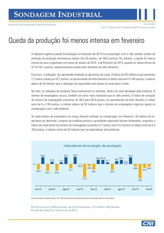 Ano 17 Número 02 Fevereiro de 2014 www.cni.org.br ISSN 1676-0212 A indústria registrou queda da produção em fevereiro de 2...