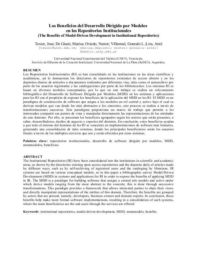Los Beneficios del Desarrollo Dirigido por Modelos en los Repositorios Institucionales (The Benefits of Model-Driven Devel...