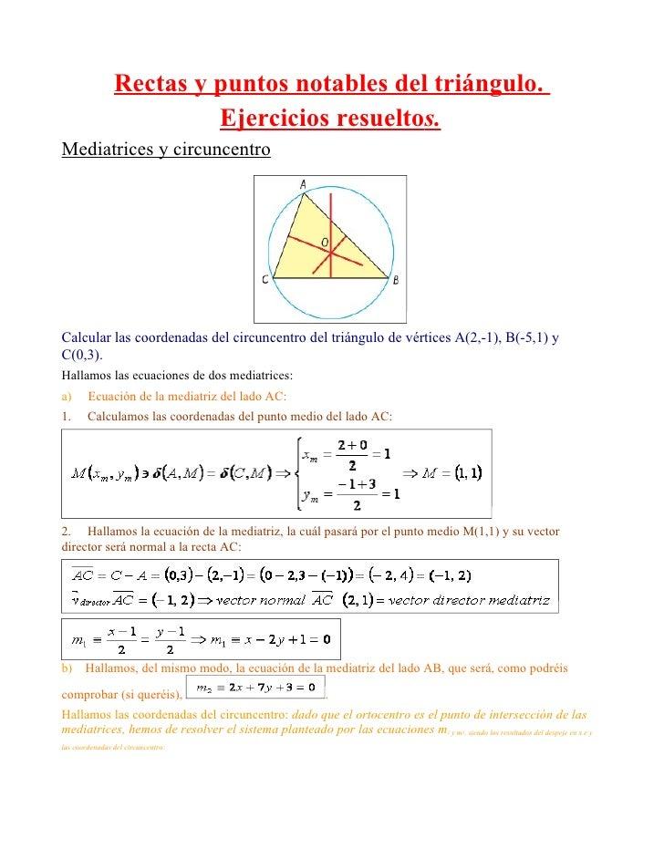 Rectas y puntos notables del triángulo.                          Ejercicios resueltos. Mediatrices y circuncentro     Calc...