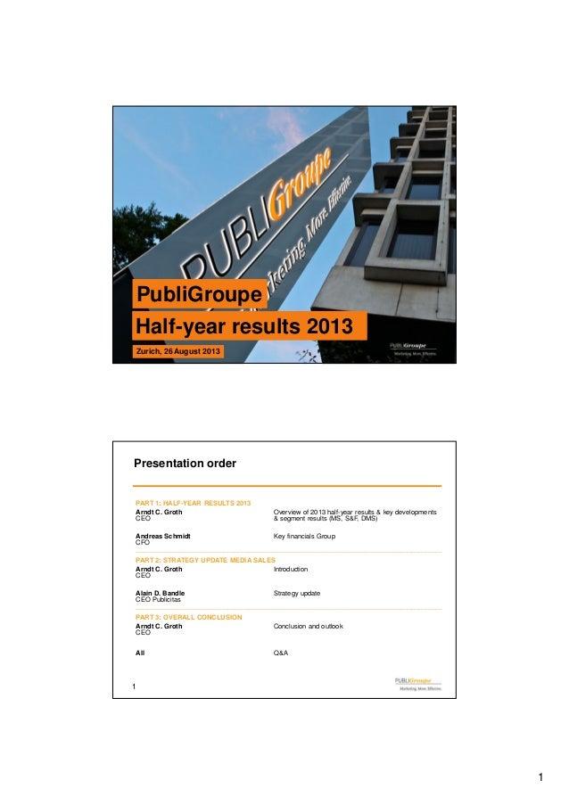 1 0 PubliGroupePubliGroupe Half-year results 2013Half-year results 2013 Zurich, 26 August 2013Zurich, 26 August 2013 1 Pre...