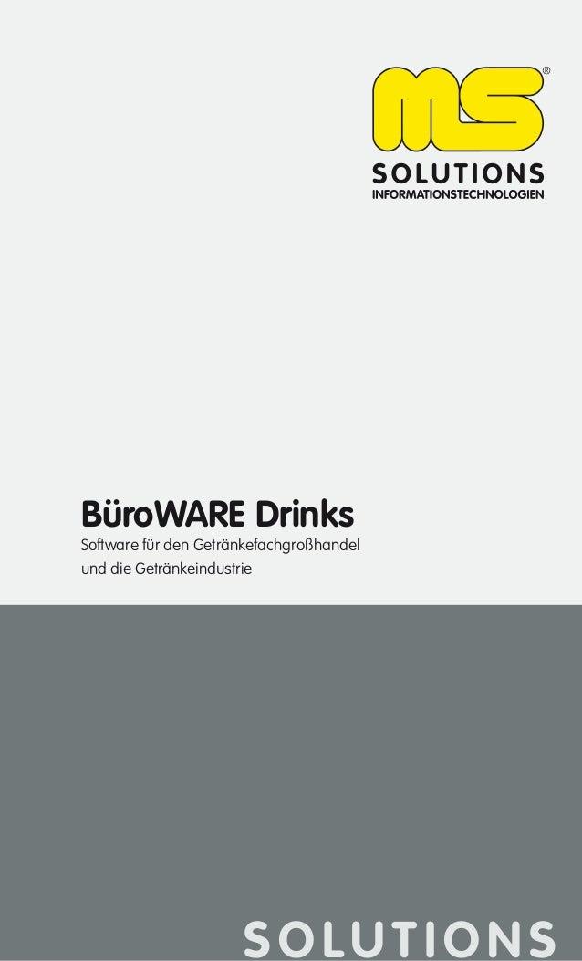 BüroWARE Drinks  Software für den Getränkefachgroßhandel und die Getränkeindustrie  SOLUTIONS