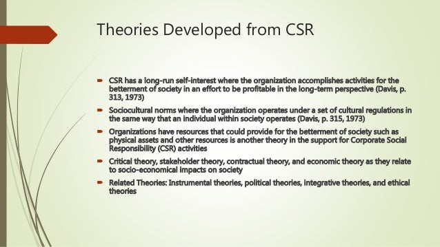 csr theories The social cost theory has a premise for corporate social responsibility in which the financial framework in the host society is said to be affected by the corporate non-monetary powers.