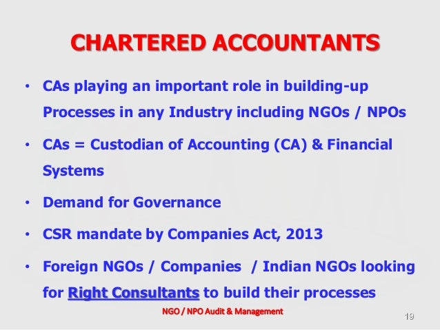 Ngo Npo Audit Amp Management Role Of A Chartered Accountant