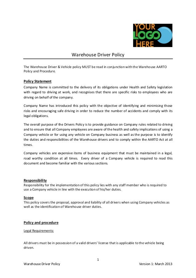 Warehouse Driver Specifications, Procedures and Policy