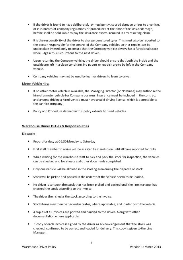 Company vehicle policy and procedures sample akbaeenw company vehicle policy and procedures sample warehouse driver specifications procedures and policy company vehicle policy and procedures sample spiritdancerdesigns Choice Image