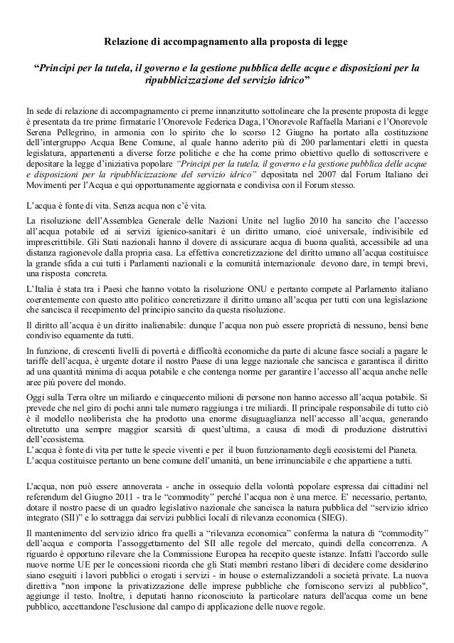 """Relazione di accompagnamento alla proposta di legge """"Principi per la tutela, il governo e la gestione pubblica delle acque..."""