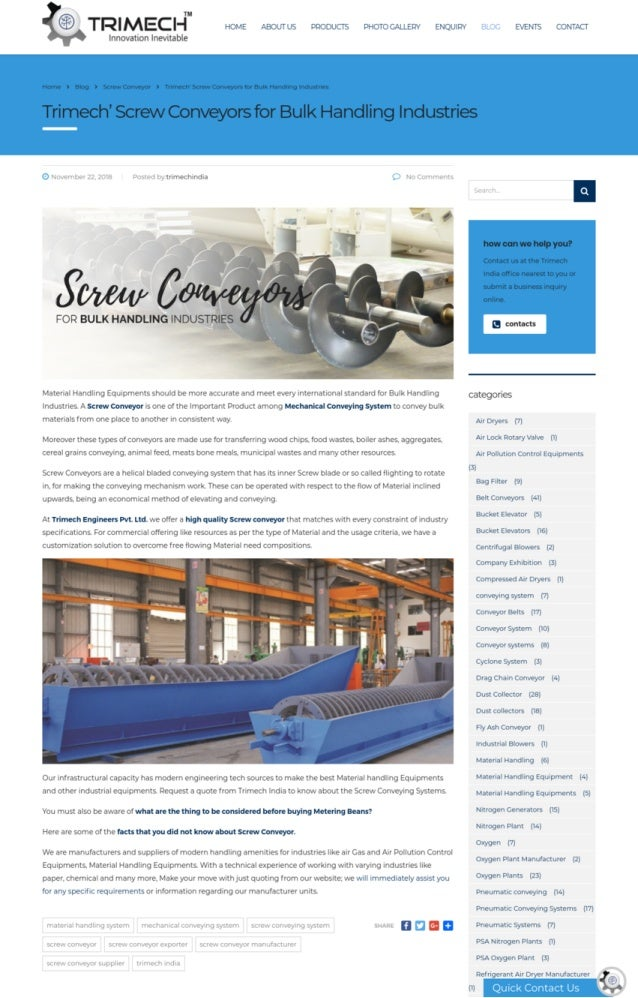 Screw Conveyor | Bulk Material Handling Screw Conveyor