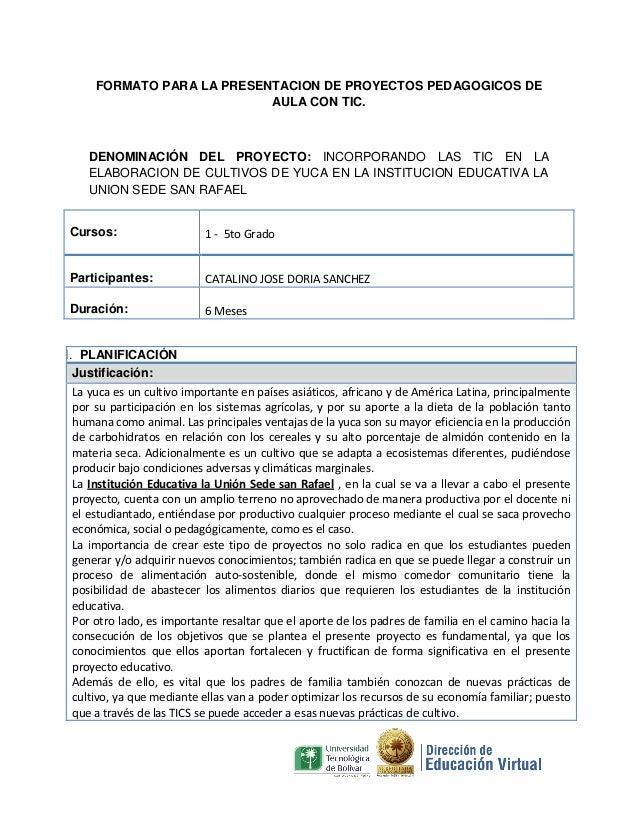 FORMATO PARA LA PRESENTACION DE PROYECTOS PEDAGOGICOS DE AULA CON TIC.  DENOMINACIÓN DEL PROYECTO: INCORPORANDO LAS TIC EN...