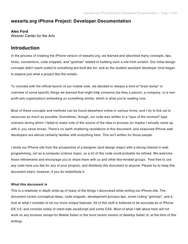 wexarts.org iPhone Project: Developer Documentation ~ Page 1 of 20  wexarts.org iPhone Project: Developer Documentation  A...