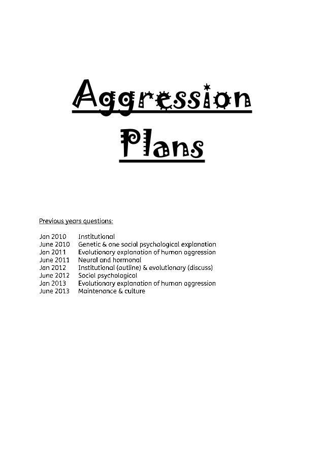 Aggression Plans