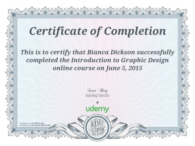 Bd Certificate Of Completion Introduction To Graphic Design