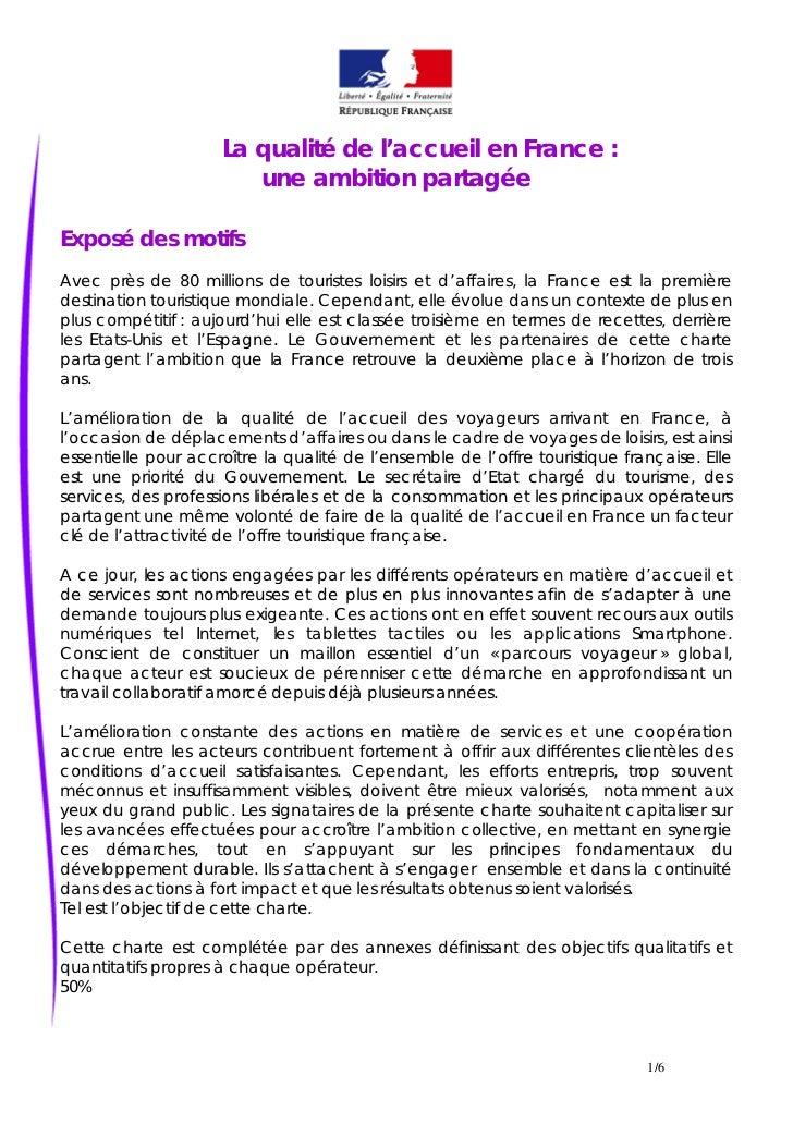 La qualité de l'accueil en France :                        une ambition partagéeExposé des motifsAvec près de 80 millions ...