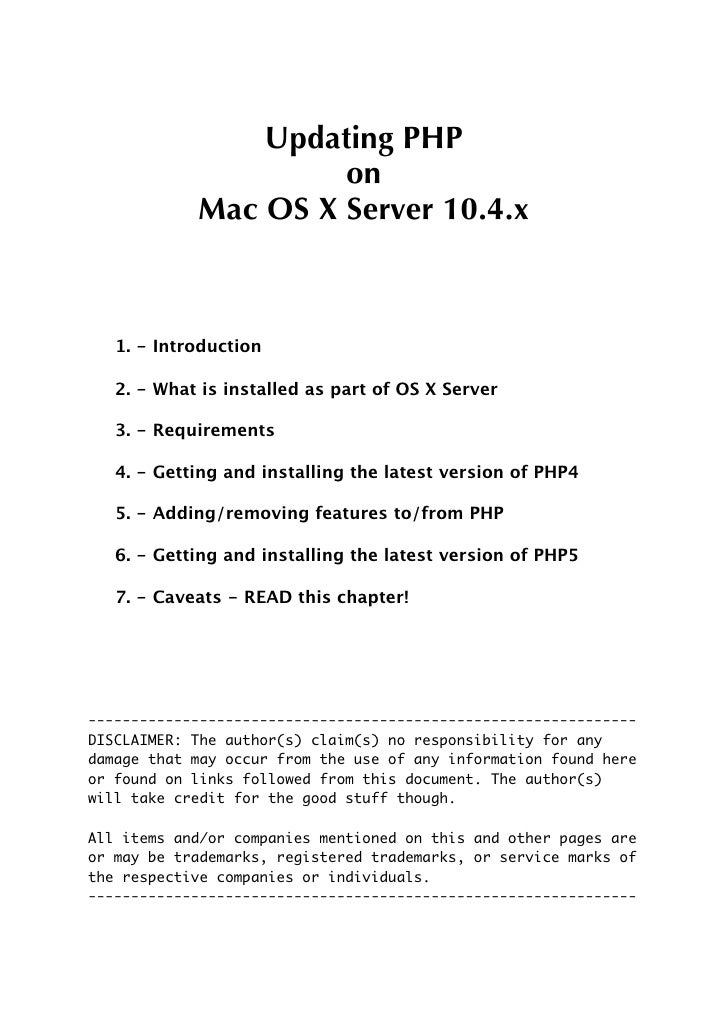 Updating PHP                      on             Mac OS X Server 10.4.x       1. - Introduction     2. - What is installed...