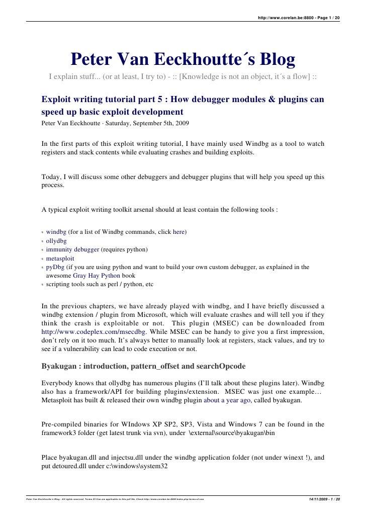 http://www.corelan.be:8800 - Page 1 / 20                                           Peter Van Eeckhoutte´s Blog            ...