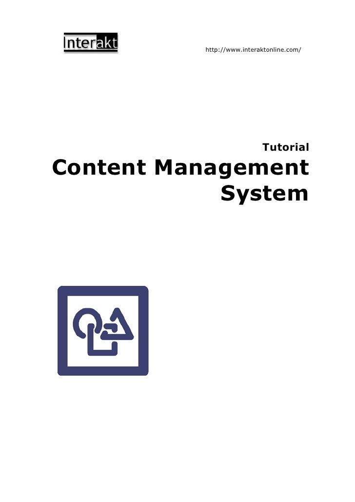 http://www.interaktonline.com/                                Tutorial  Content Management             System