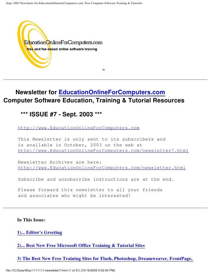 Sept. 2003 Newsletter for EducationOnlineforComputers.com: Free Computer Software Training & Tutorials        Newsletter f...