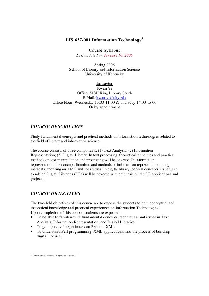 LIS 637-001 Information Technology1                                                              Course Syllabus          ...