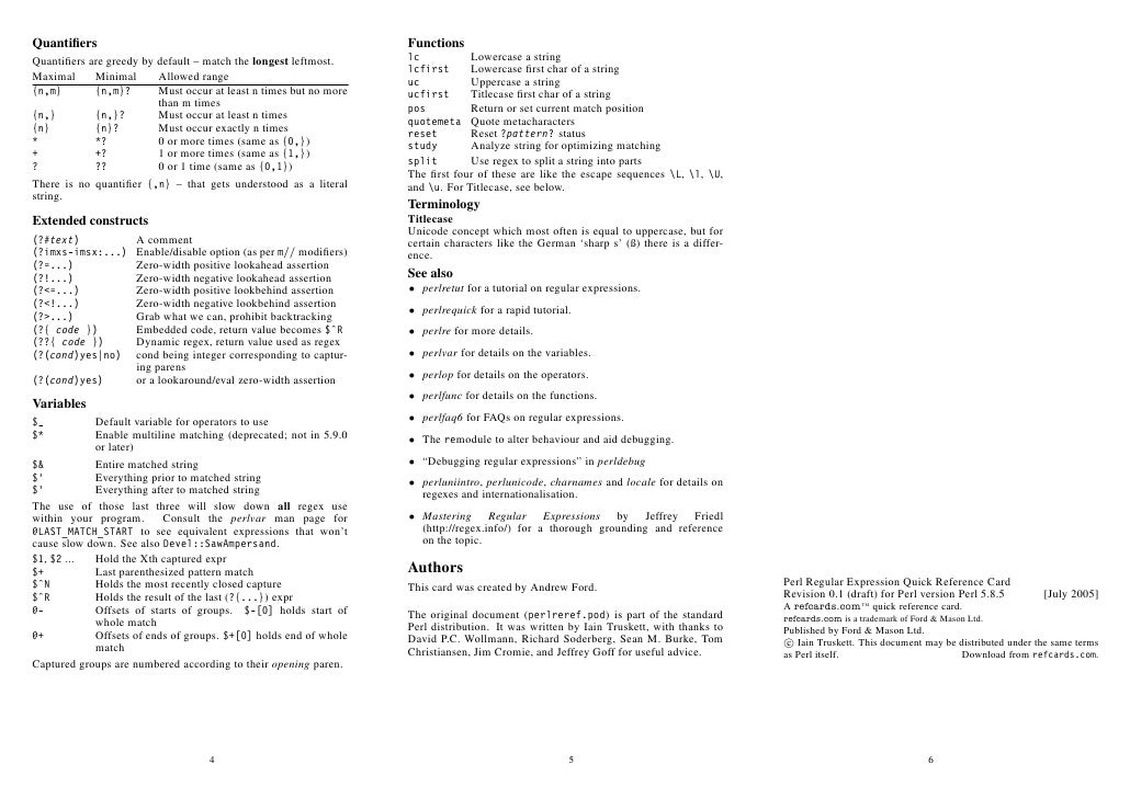 PERL QUICK REFERENCE CARD EPUB