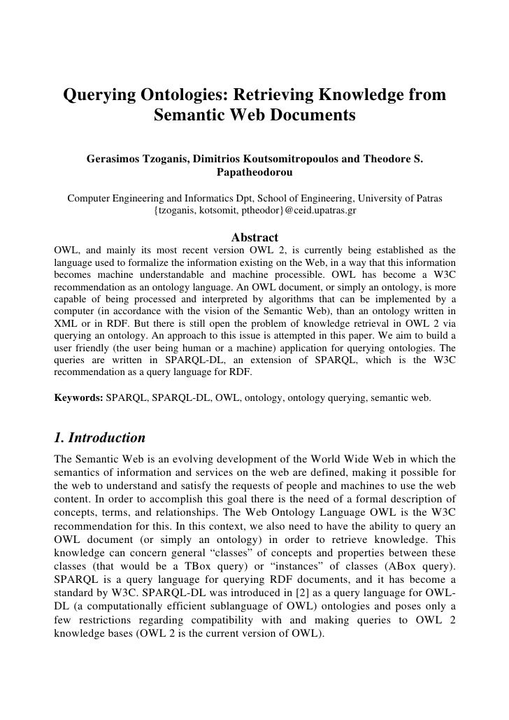 Querying Ontologies: Retrieving Knowledge from             Semantic Web Documents         Gerasimos Tzoganis, Dimitrios Ko...