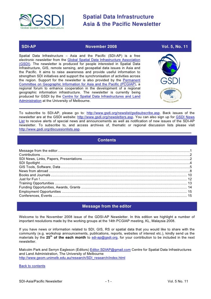 Spatial Data Infrastructure                                                              Asia & the Pacific Newsletter    ...