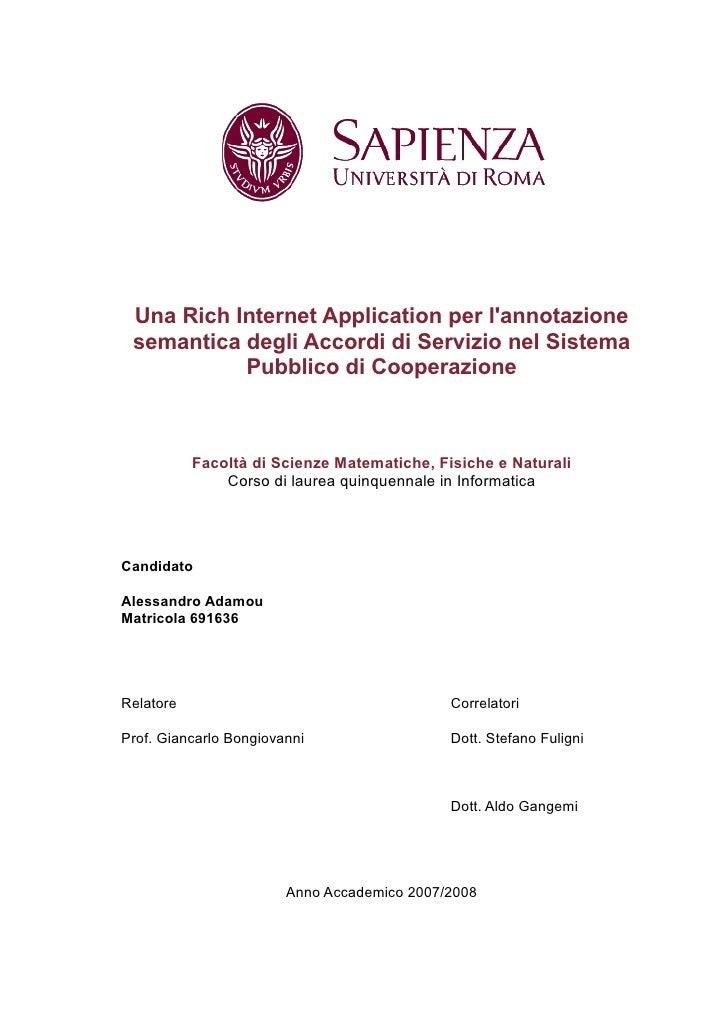 Una Rich Internet Application per l'annotazione  semantica degli Accordi di Servizio nel Sistema            Pubblico di Co...
