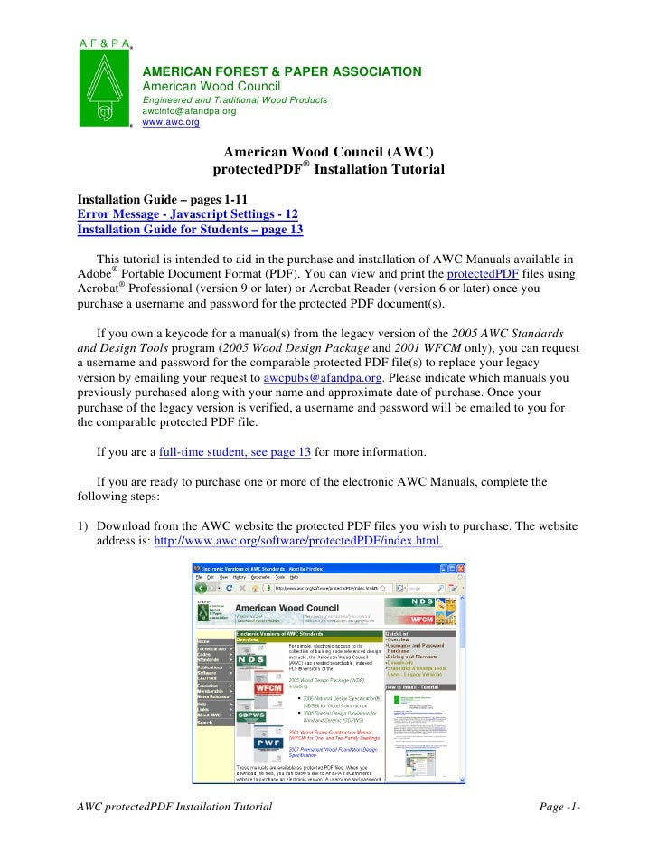 AMERICAN FOREST & PAPER ASSOCIATION            American Wood Council            Engineered and Traditional Wood Products  ...