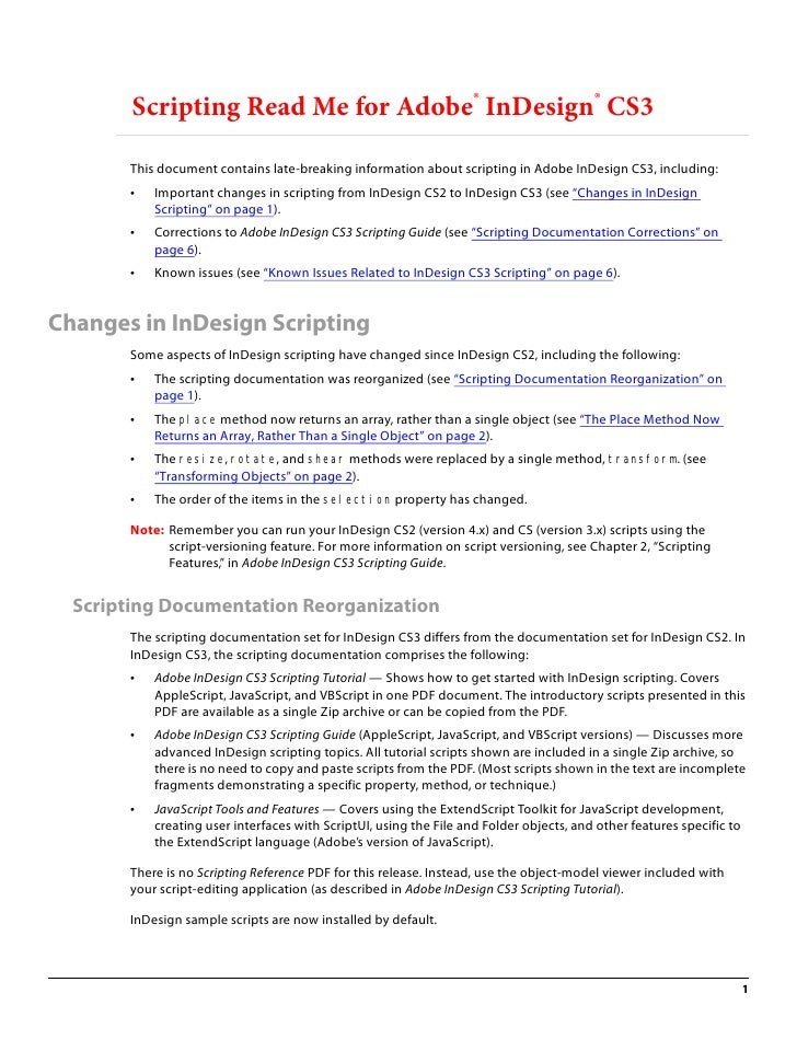 Scripting Read Me for Adobe® InDesign® CS3         This document contains late-breaking information about scripting in Ado...