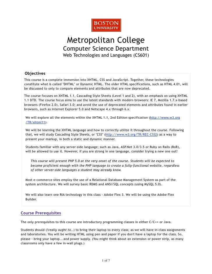 Metropolitan College                             Computer Science Department                             Web Technologies ...