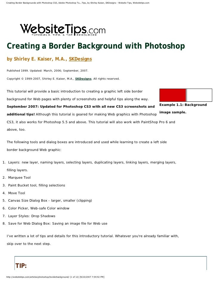 Creating Border Backgrounds with Photoshop CS3, Adobe Photoshop Tu...Tips, by Shirley Kaiser, SKDesigns - Website Tips, We...