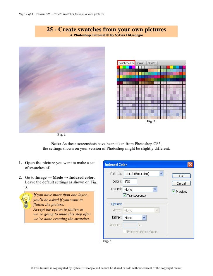 Page 1 of 4 – Tutorial 25 – Create swatches from your own pictures                          25 - Create swatches from your...