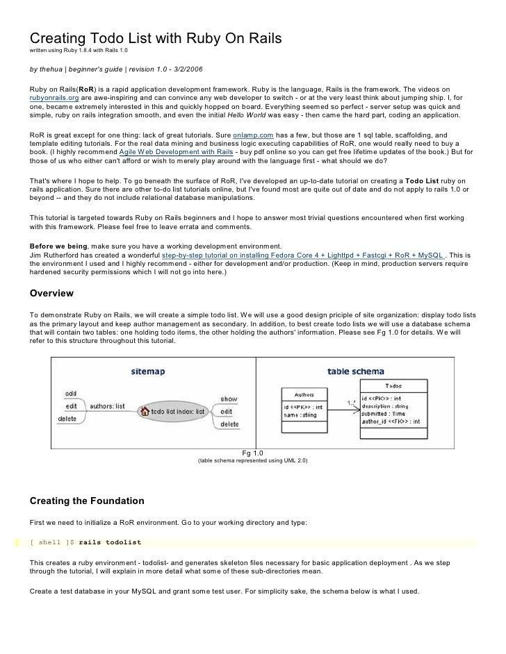 CreatingTodoListwithRubyOnRails writtenusingRuby1.8.4withRails1.0   bythehua beginner'sguide revision...