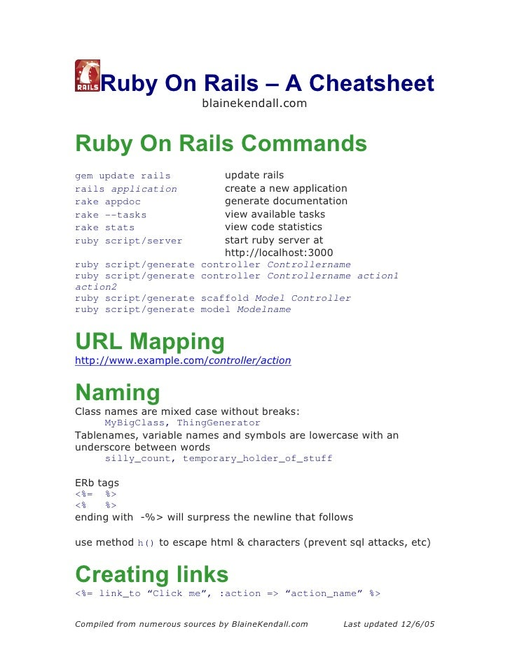 Ruby On Rails – A Cheatsheet                            blainekendall.com   Ruby On Rails Commands gem update rails       ...