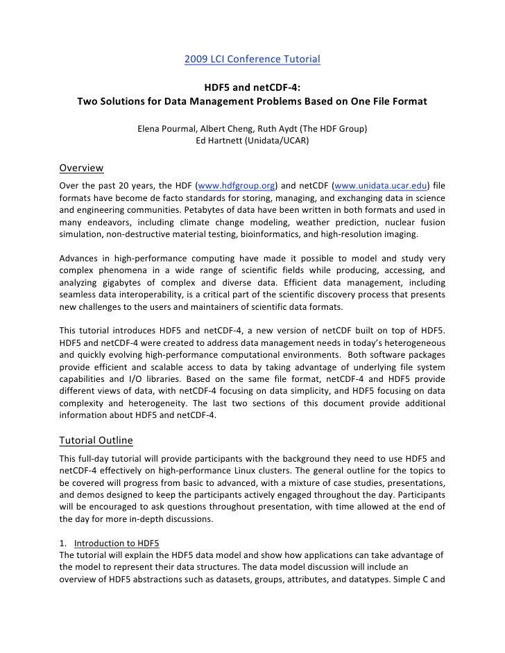 2009LCIConferenceTutorial                                                                       HDF5andnetCDF‐4: ...