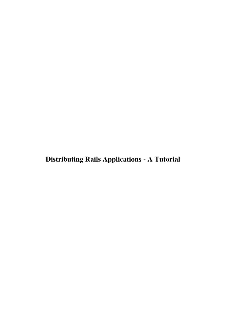 Distributing Rails Applications - A Tutorial